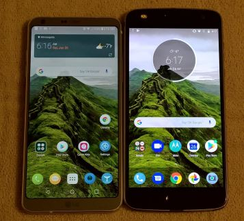 Front of the LG G6 and Moto Z2 Play