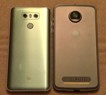 Back of the LG G6 and Moto Z2 Play